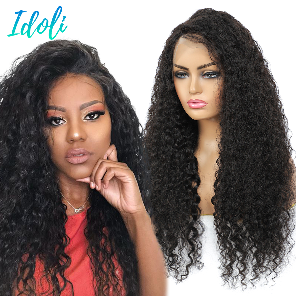 13x4 Lace Front Human Hair Wigs Remy Deep Curly Human Hair Wigs Preplucked and Bleached Knots Lace W