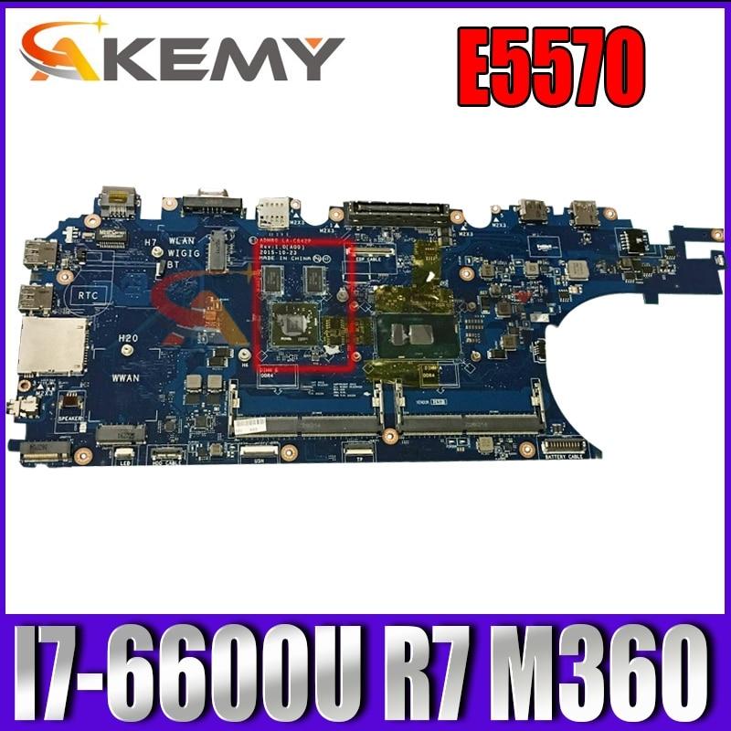 Akemy لديل خط العرض E5570 اللوحة المحمول CN-0J1PDD 0J1PDD J1PDD LA-C642P I7-6600U CPU R7 M360 ADP80 DDR4