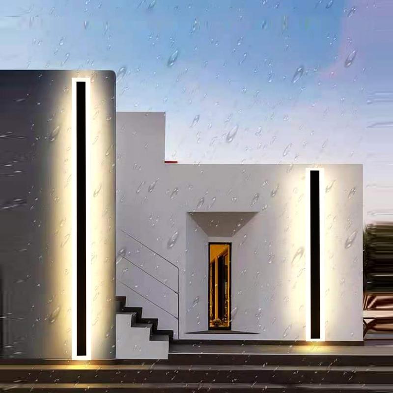 مصباح حائط Led خطي مقاوم للماء IP65 ، طراز بسيط ، للشرفة ، للفيلا ، الفندق ، البناء ، الإضاءة الخارجية