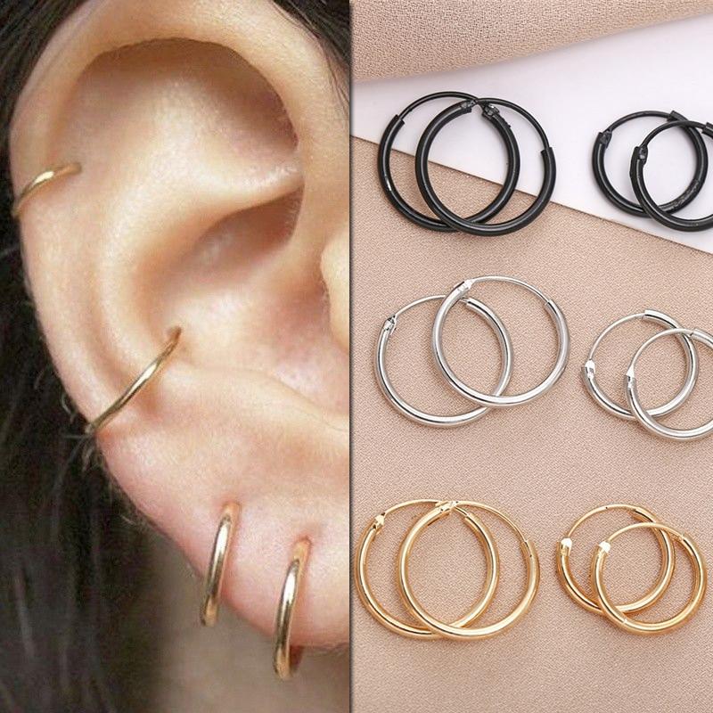Маленькие серьги-кольца серебряного цвета для женщин и мужчин, Ушные Кольца с геометрическим дизайном, Подарочная бижутерия, сережки Brincos