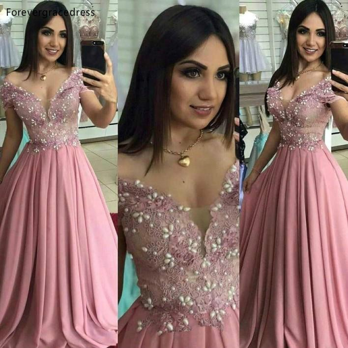 Pink Colour Prom Dresses A Line Off the Shoulder Beaded Lace Party Celebrity Gowns Women Wears Plus