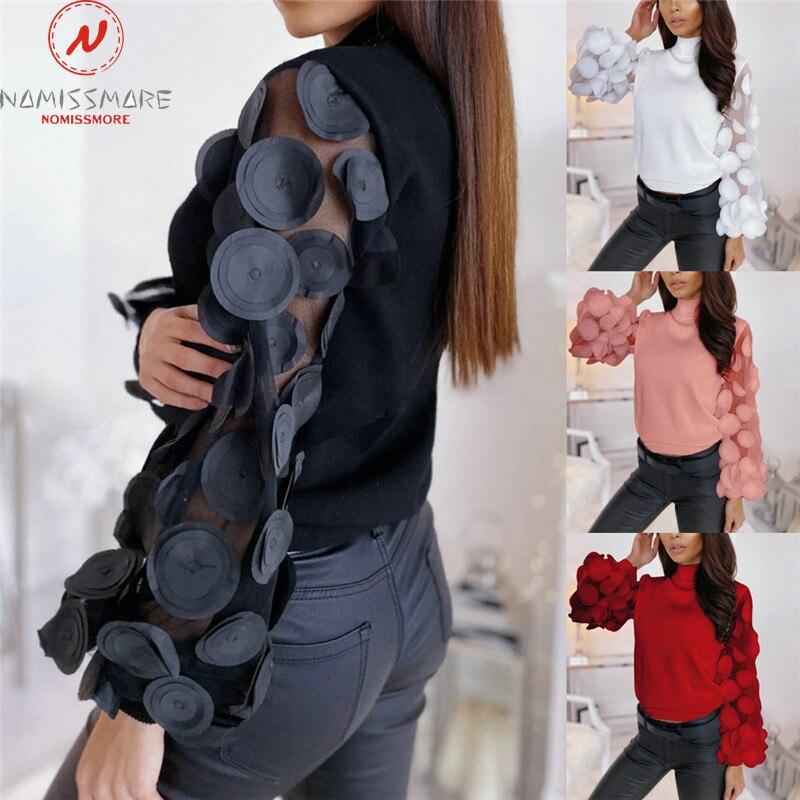 Модные женские весенне-Осенние футболки с принтом в горошек, Кружевной декор, прозрачный топ с круглым вырезом и пышными рукавами, однотонный тонкий пуловер