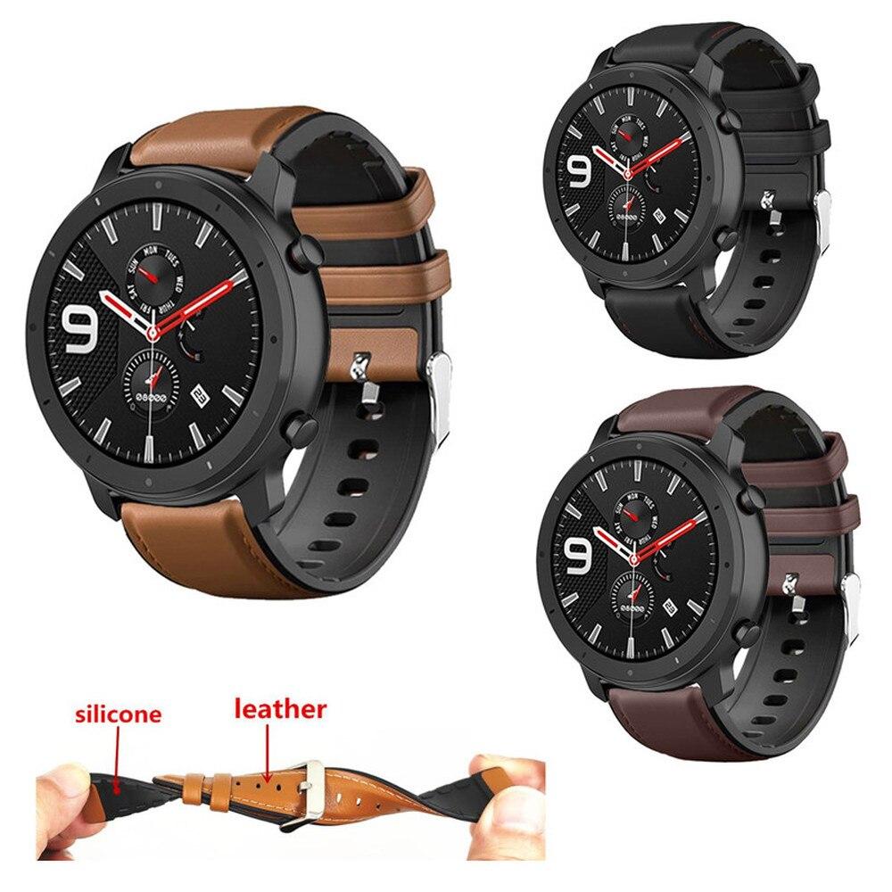 Pulseira de couro e silicone para amazfit gtr, 47mm 42mm/amazfit pace stratos 2 2s 3 correia de pulseira de relógio inteligente