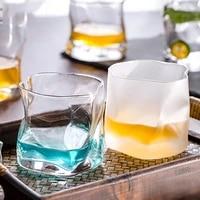 european style irregular shaped twist pattern household thickened whiskey glass custom creative spirits beer foreign wine glass