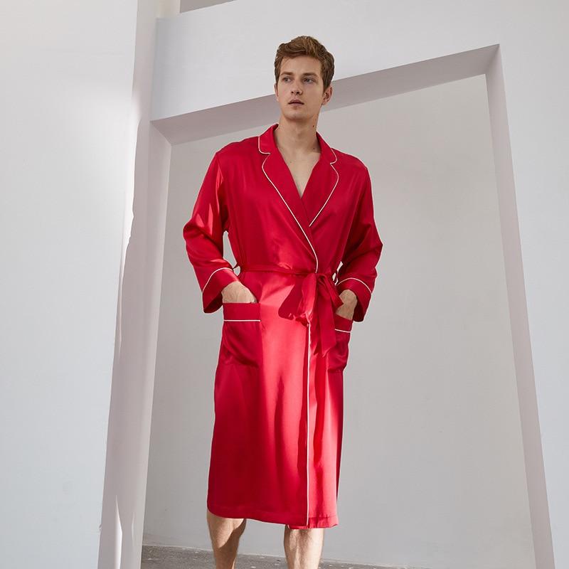 Summer Men's V Neck Silk Robe Kimono Long Bathrobe Pajamas Nightgown Sleepwear Christmas Robe for Wedding Party