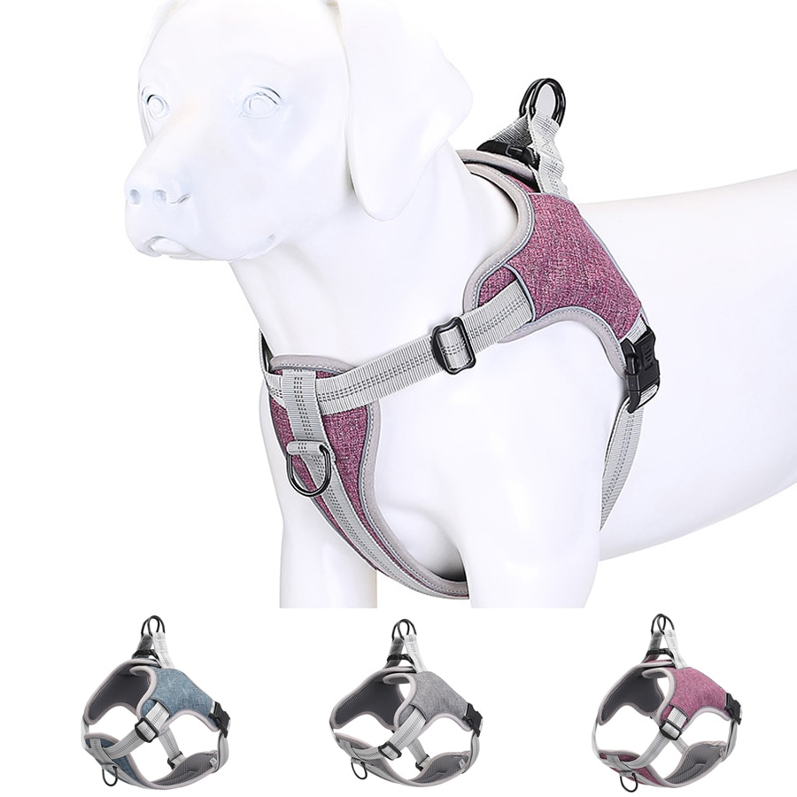 AliExpress - New Pet Dog Harness Vest Soft lining Adjustable Reflective Medium Large Dog Harness Collar breathable Walking Training Harness