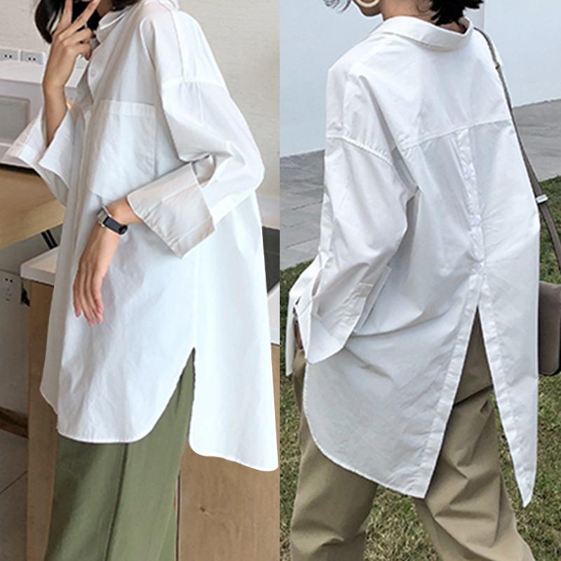 Vintage Casual Long Sleeve Lapel Tunic Tops Solid Loose Blouse Shirts Celmia 2020 Autumn Pleated Irregular Split Hem Chic Blusas