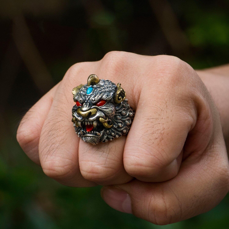 خاتم القوات الفضية 925 ، هدايا أصلية مصنوعة يدويًا ، خواتم مفتوحة عصرية مرصعة بالفيروز