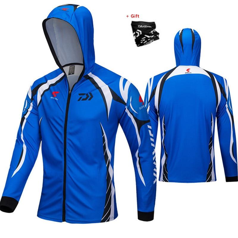 Deportes de Verano al aire libre de secado rápido protección solar ropa de pesca hombres transpirable Sudadera con capucha Anti-mosquito chaqueta de pesca delgada abrigo