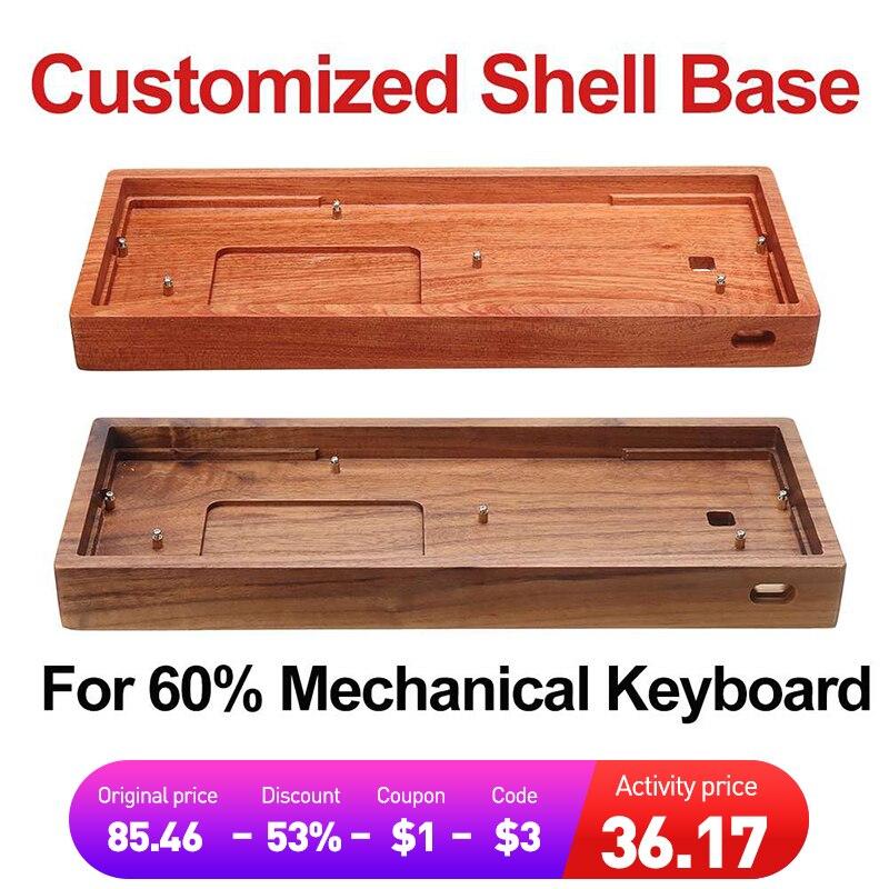 حافظة خشبية صلبة GH60 قاعدة مخصصة مصنوعة من خشب الورد الأصفر والجوز والخشب 60% حافظة لوحة مفاتيح للألعاب الميكانيكية بنسبة 60%