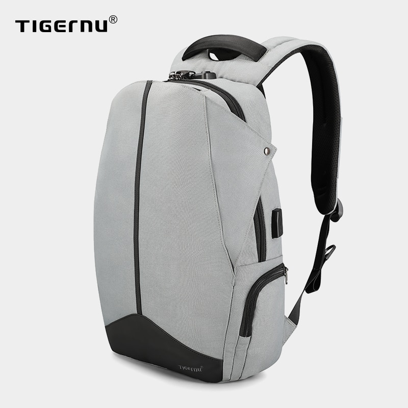 Tigerنو مكافحة سرقة براءة اختراع سستة TSA قفل لا مفتاح تصميم الرجال USB 15.6 بوصة محمول على الظهر حقيبة مدرسية الطالب حقيبة ظهر لطلاب الجامعة