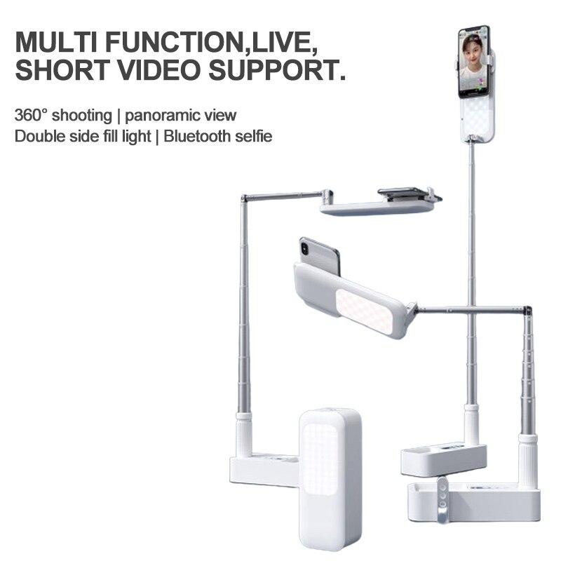 حار حامل هاتف محمول حامل مزدوج محور 360 درجة دوران مع لاسلكي عكس الضوء LED Selfie ملء ضوء مصباح للفيديو لايف