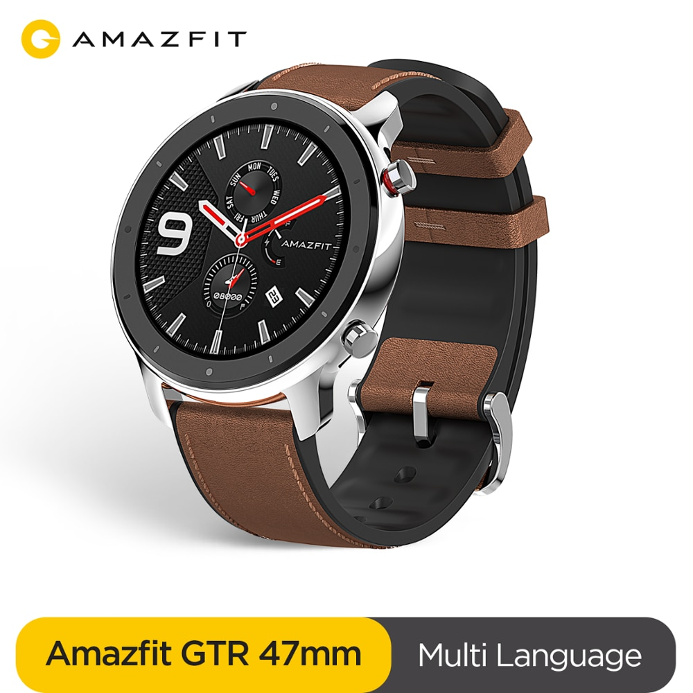 Review Amazfit GTR 47mm Smart Watch 24 Days Battery Music Control 5ATM Waterproof Smartwatch Leather Silicon Strap