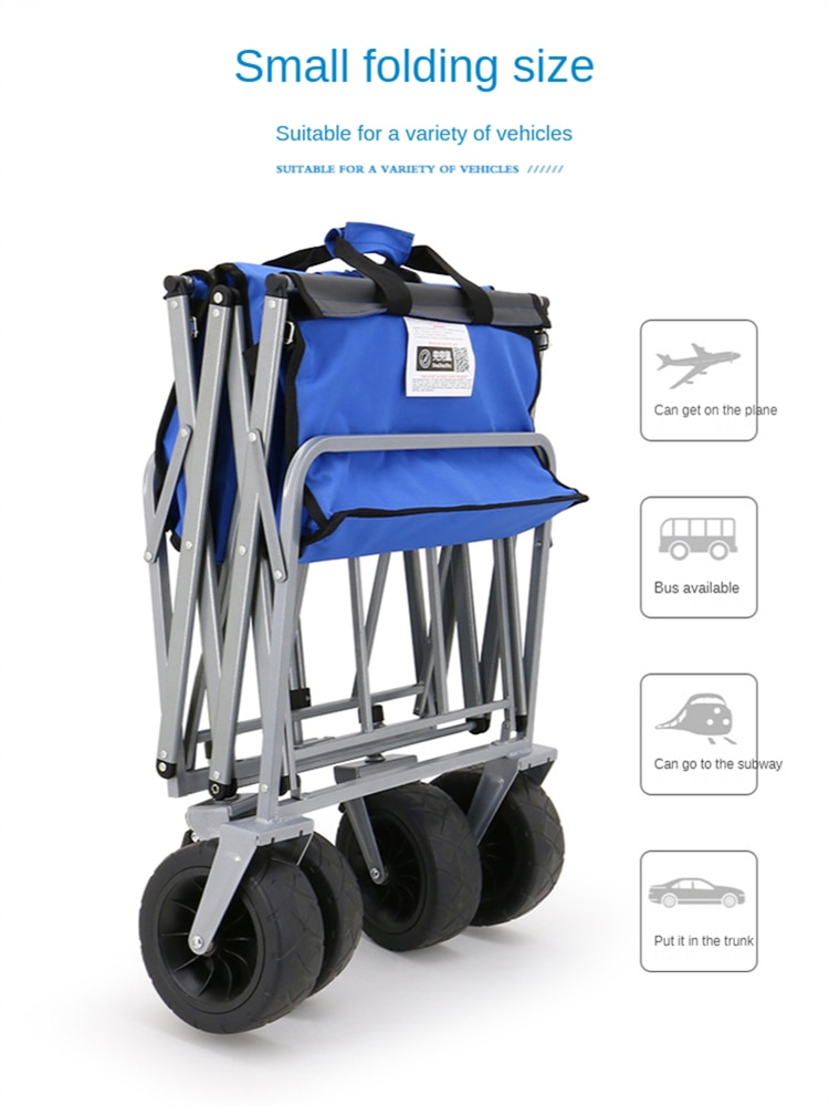 Sports Wagon Beach Cart Foldable Portable Lightweight for Groceries Heavy Duty Collapsible Outdoor Camping Garden