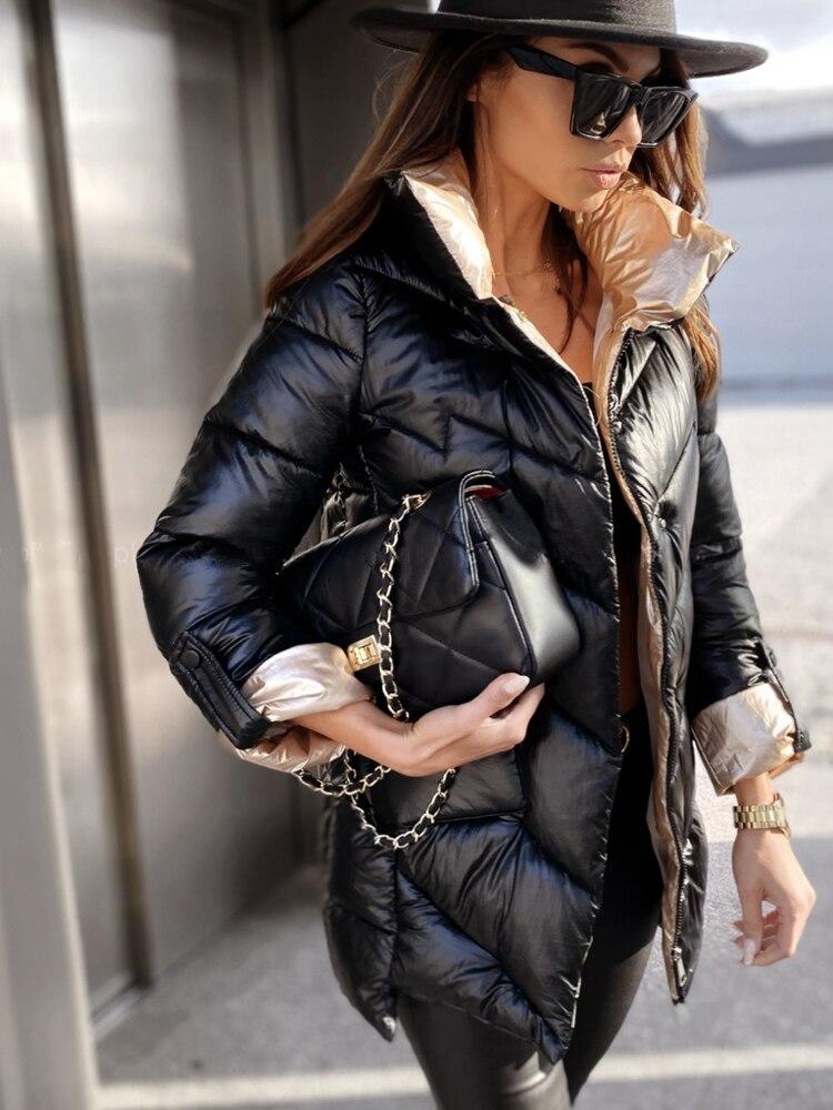 خليط سترة النساء المتضخم الإناث ملابس خارجية عادية الشتاء سترة القطن معطف مبطّن دافئ مبطن الوقوف طوق سترة منفوخة