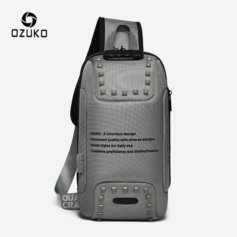 OZUKO-Bolso cruzado con remaches para hombre, bandolera antirrobo de pecho con carga USB, repelente al agua para viaje corto