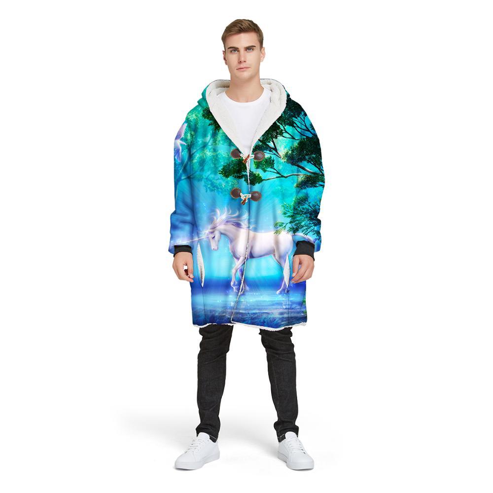 3D Print Hooded Blanket Fleece Plush Unicorn Dream Series Nap Blanket with Sleeves,Winter Outdoor Coat Large Pocket Oversize
