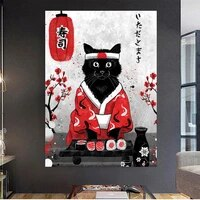 japanese geisha and sushi cat canvas painting art posters and prints print mural samurai pictures living room home wall decor