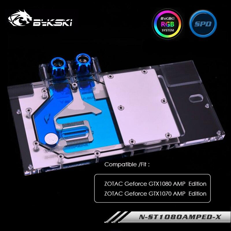 Bloco de água de bykski gpu para zotac geforce gtx1080/1070 amp edition, 12v 4pin ,5v 3pin cabeçalho claro, N-ST1080AMPED-X