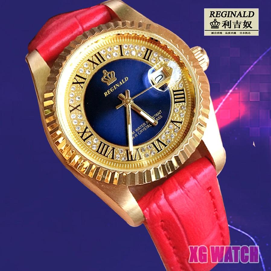 2020 zegarek drewniany damski Quartz Watch For Girls Luminous Fashion Gold 26mm Leather Strap Diamond Couple Watch Quartz Watch enlarge