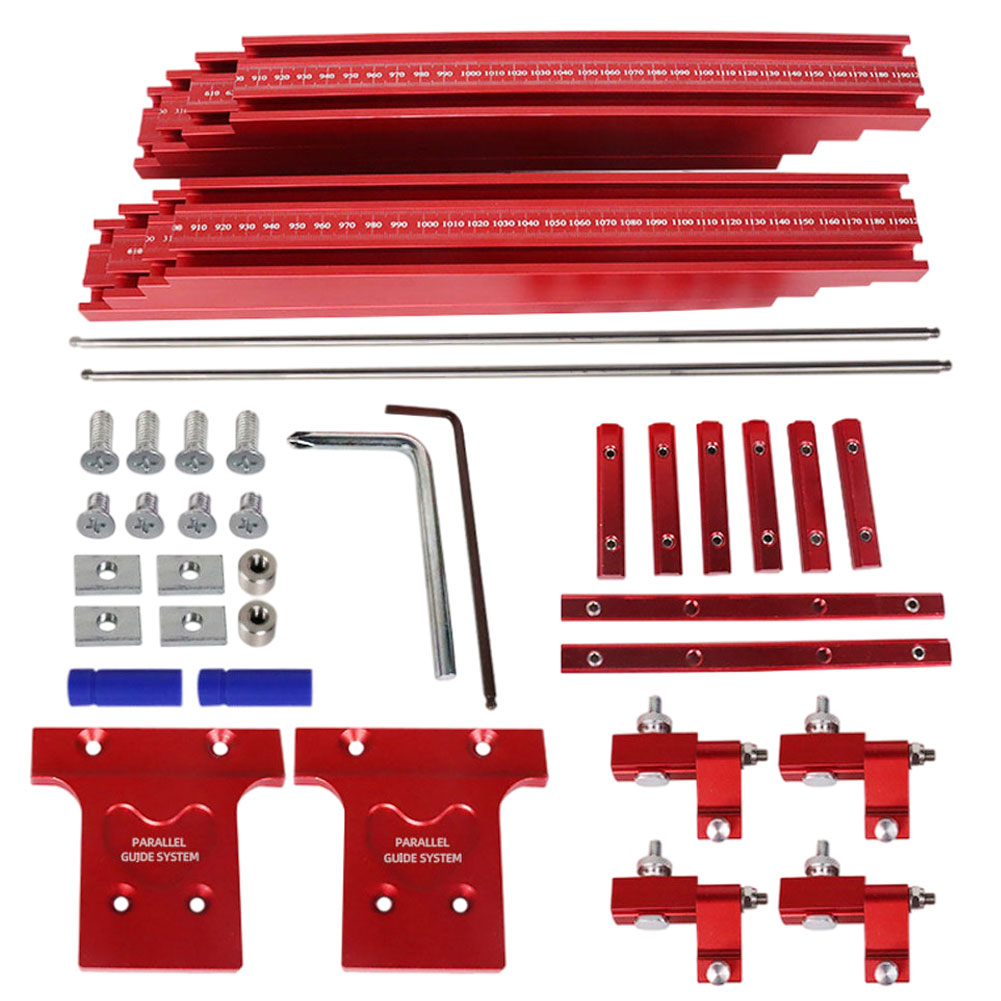 40PCS Circular Saw Track Set Double Scales Aluminum Alloy Circular Saw Fixed Guide Rail Bracket Auxiliary Tools For Woodworking