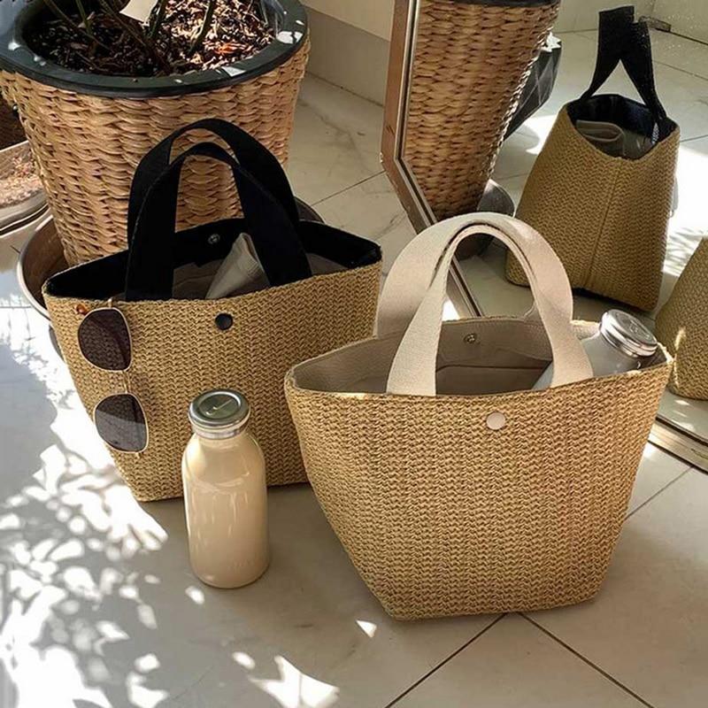 Bolsos de verano hechos a mano LITTHING, bolso de paja tejido para playa para mujer, bolso con tirante enrollado, bolsos de mano con asa superior de ratán, bolsos de viaje