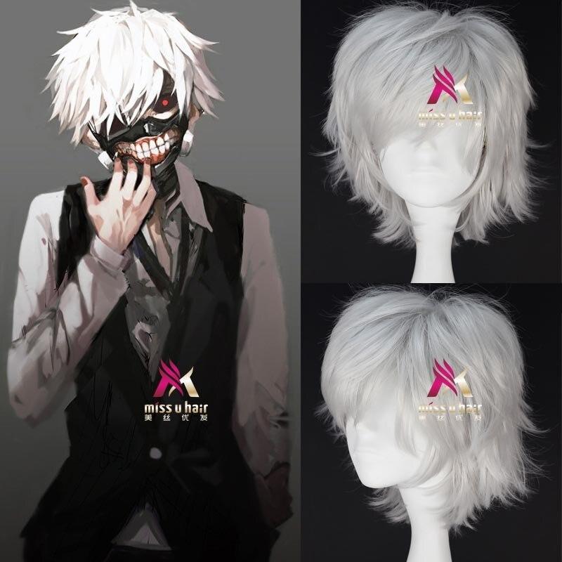 Pelucas Tokyo Ghoul Kaneki Ken peluca corta recta gris plata peluca sintética Cosplay del pelo Anime pelucas de fibra resistente al calor + tapa de la peluca