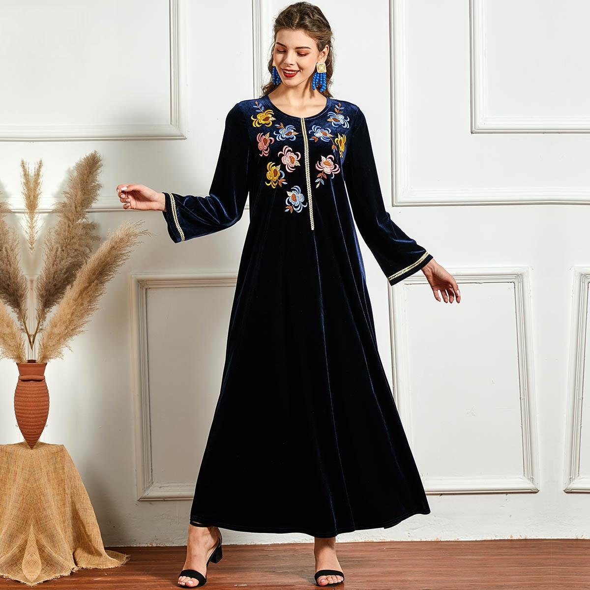 فستان طويل مخملي للنساء المسلمات ، فستان شتوي مطرز بالزهور ، قفطان مغربي ، ملابس إسلامية تركية ، حجاب عربي
