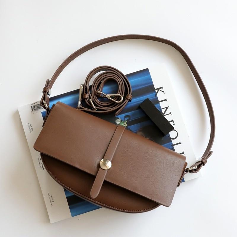 حقيبة سرج جلدية للنساء ، تصميم فاخر ، موضة جديدة 2021 ، حقيبة كتف واحدة نصف دائرية ، حقيبة تحت الإبط