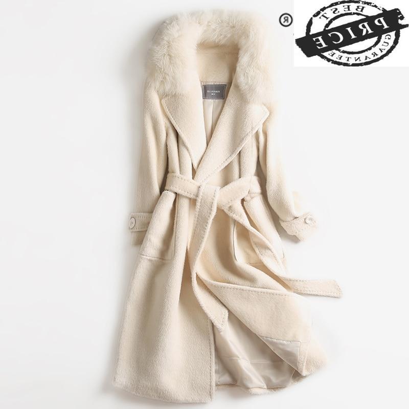 معطف نسائي شتوي موضة معطف فرو حقيقي 2021 للسيدات جاكيت بقص الأغنام + ياقة من فرو الثعلب الحقيقي سترة كورية من الألبكة a010