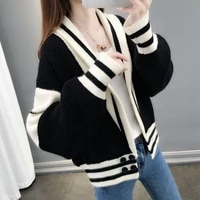 color blocking knitted cardigan womens autumn 2021 new loose all match coat jacket western style thin sweater