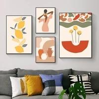 Affiche murale abstraite Vintage  mode  geometrie coloree  toile imprimee  peinture Boho  images decoratives  decor de maison pour salon