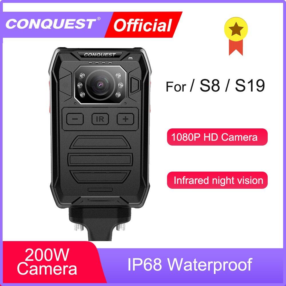 Перейти на Алиэкспресс и купить CONQUEST P81 нательная камера HD 1080P DVR видеокамера безопасности ИК Ночное Видение носимая мини-видеокамера полицейская камера для S8 S19