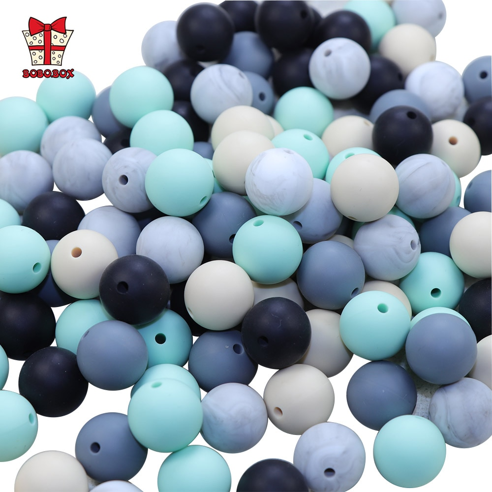 BOBO.BOX 10pcs Silicone Beads 15mm Round Perle Silicone Dentition Baby Teething Beads Pacifier Chain