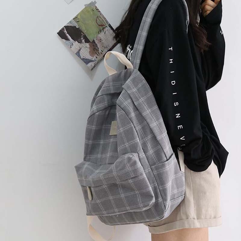 موضة فتاة كلية حقيبة مدرسية عادية جديدة بسيطة المرأة على ظهره مخطط كتاب Packbags للمراهقين حقيبة كتفية للسفر حقيبة الظهر