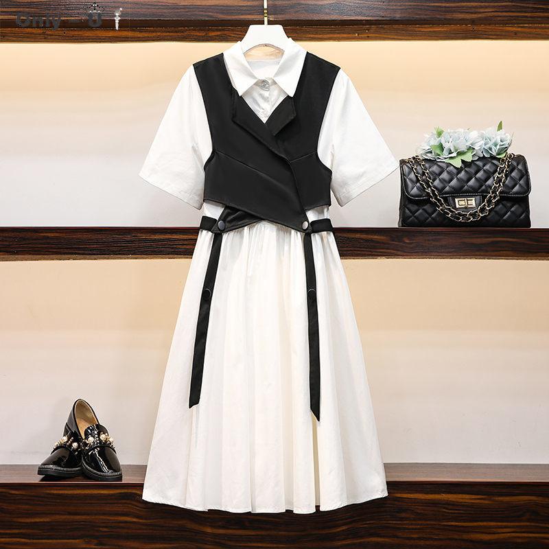 Plus Size Women's Dress Set 2020 Summer New Loose Fashion Crop Tops + White Shirt Dress Midi Two Piece Suit Outfit K654