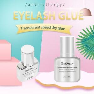 CURSAVELA Клей для наращивания ресниц, прозрачный клей для макияжа, быстросохнущий, прочный, 10 мл, клей для ресниц, длительный, самый быстрый, со с...