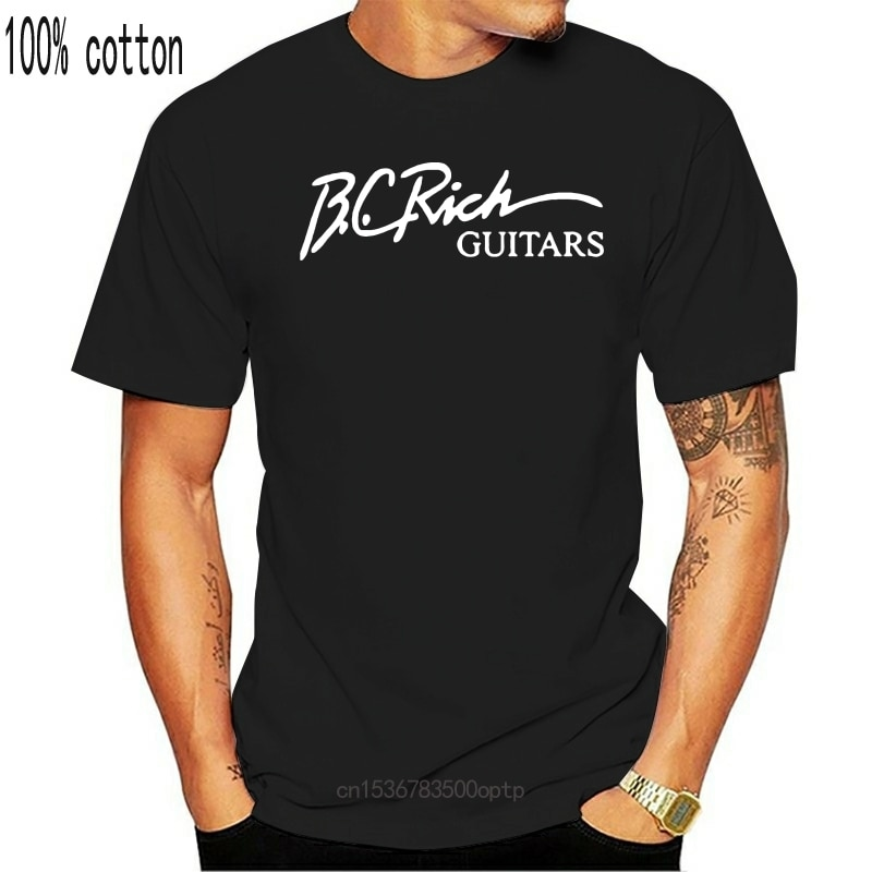 New BC B.C. Rich Guitars White Black T-Shirt Men's S To 5XL