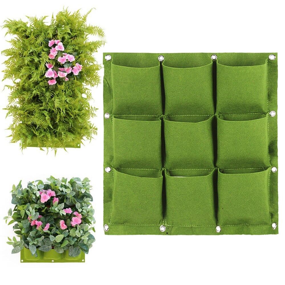 Bolsa de cultivo de plantas para colgar en la pared con 9 bolsillos, bolsa de bricolaje verde para cultivo de verduras, bolsa para jardín, maceta Vertical para salón, bolsa para el hogar 30