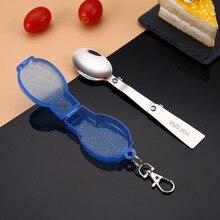Útil y creativo juego de vajilla de acero inoxidable portátil plegable cuchara Simple vajilla