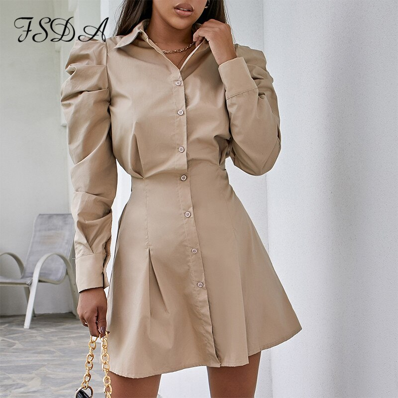FSDA 2020 Long Puff Sleeve Khaki Button A Line Dress Shitr Women Mini Waist Autumn Winter Casual Dresses Sexy Party