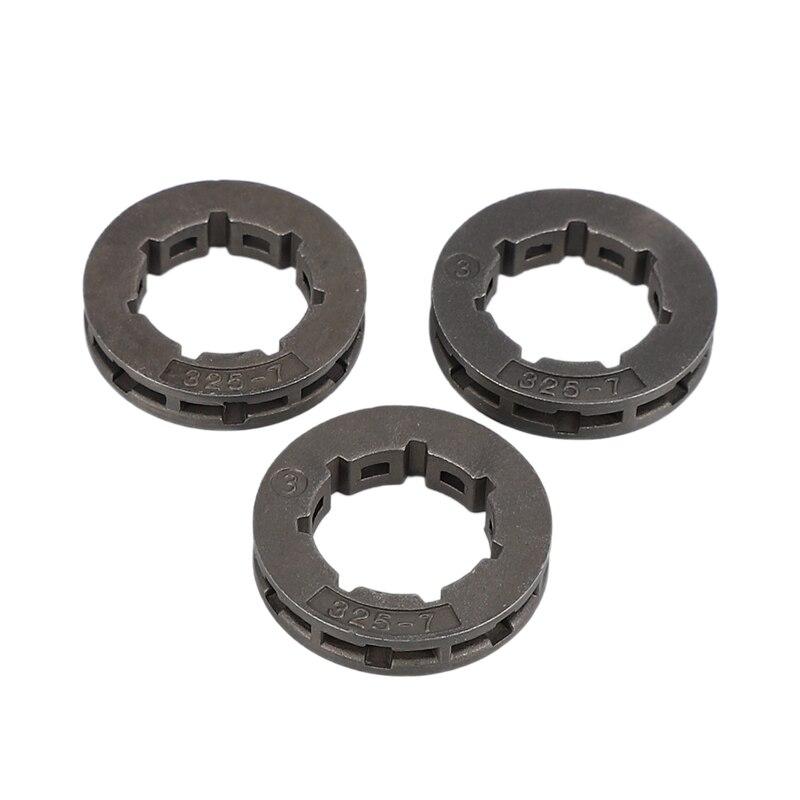 SHGO HOT-3Pcs części do narzędzi metalowa część zamienna do piły łańcuchowej piła łańcuchowa zębatka napędowa Power Mate 325-7 na zamiennik do piły łańcuchowej