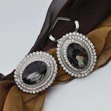 2020 original design brosche große grau oval glas silk schal clip schnalle high-end-zubehör