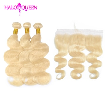 HALOQUEEN 613 Bundles With Frontal Ear to ear Peruvian Bodywave With Frontal Blonde Human Hair Lace Frontal Closure With Bundles