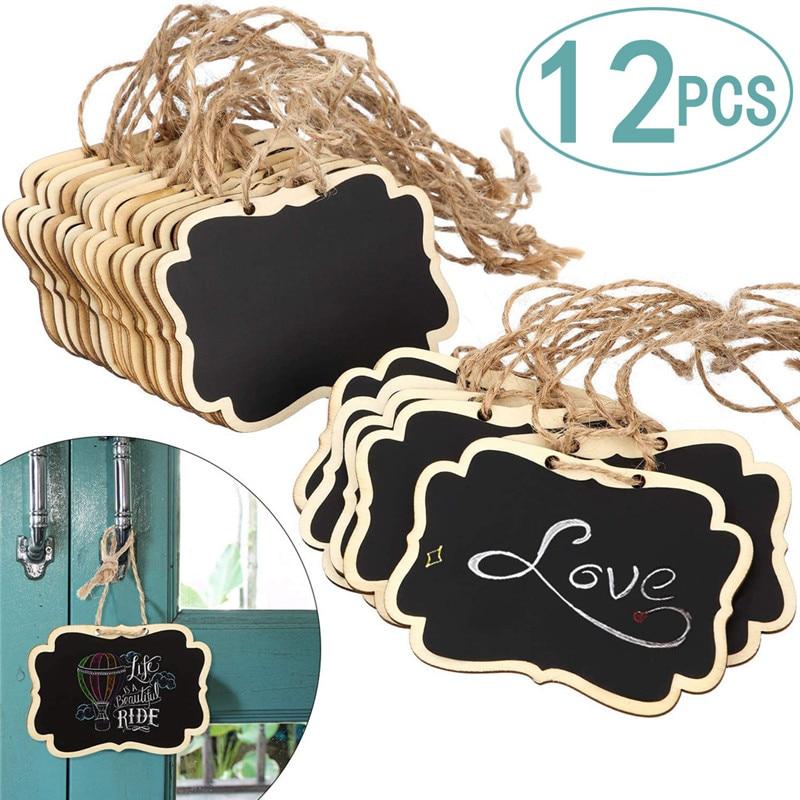 12 шт. деревянная мини-доска, знаки, маленькая Двухсторонняя доска с веревкой, для доски объявлений, знаки, этикетки для еды, украшения вечерн...