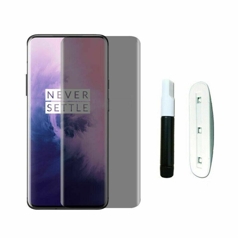 10 Uds UV líquido completa pegamento de privacidad de vidrio templado para el Oneplus 7 Pro Anti-mirón Protector de pantalla película de vidrio
