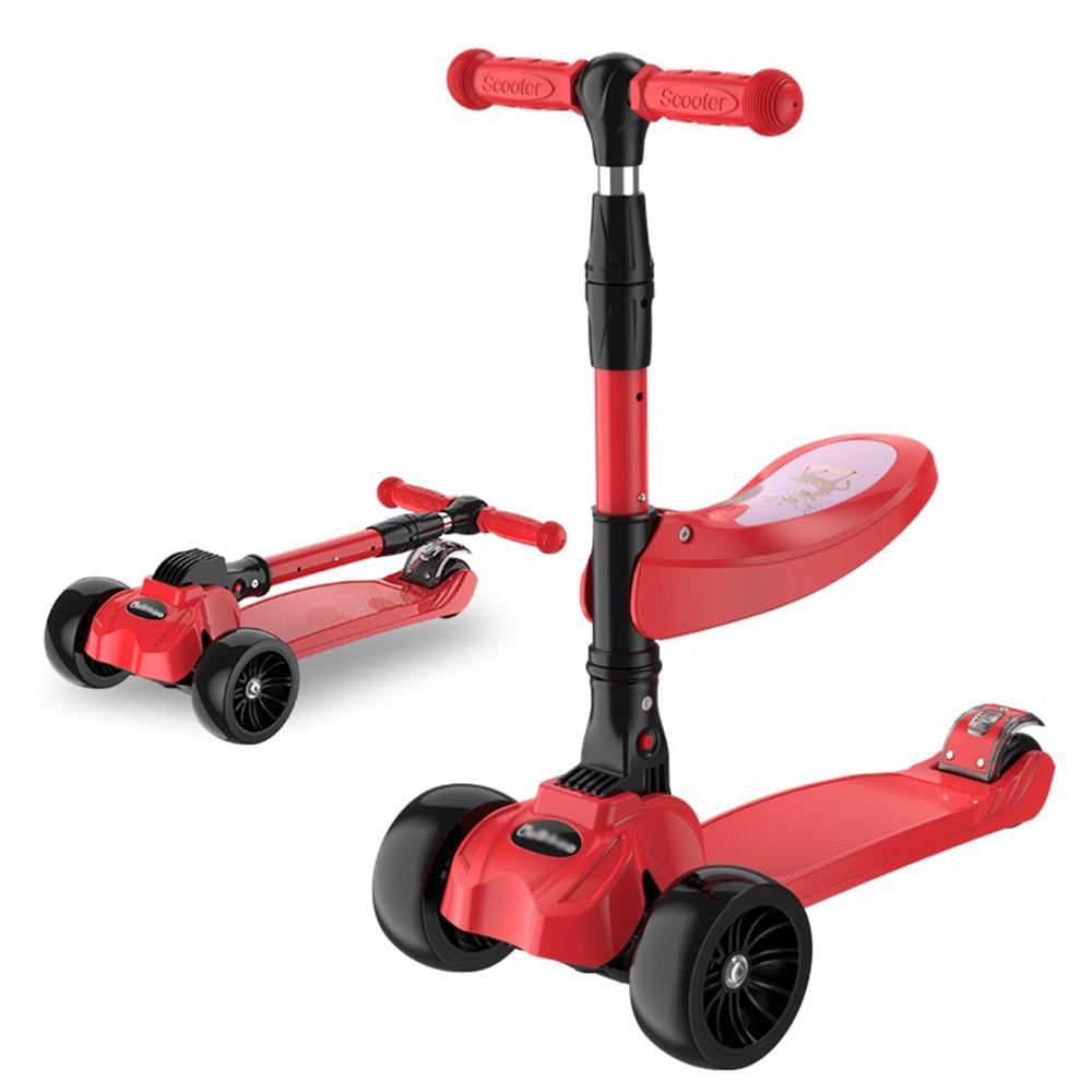Patinete para niños de 2 a 9 años, patinete de Surf con ruedas intermitentes, patinete plegable 2 en 1, andador de bebé, juguetes al aire libre