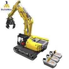 Construcdmoc RC pelle électrique piste voiture 2 en 1 blocs de construction technique ingénierie pelle blocs briques jouets pour enfants