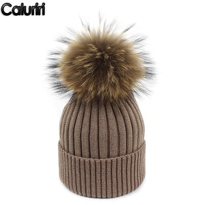 Caluriri Beanie Cap Best Selling Bright Silk Knit Cap Real Fur Ball Autumn Winter Warm Lady Hat Wool Cap Thick Winter Beanie Hat