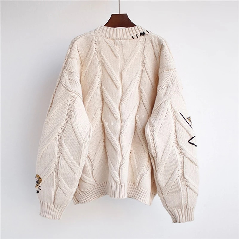 2020 Autumn Winter Women Cardigan Warm Knitted Sweater Jacket Pocket Embroidery Fashion Knit Cardigans Coat Lady Loose Sweaters enlarge